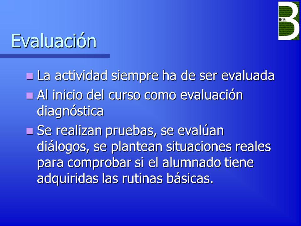 Evaluación La actividad siempre ha de ser evaluada La actividad siempre ha de ser evaluada Al inicio del curso como evaluación diagnóstica Al inicio d