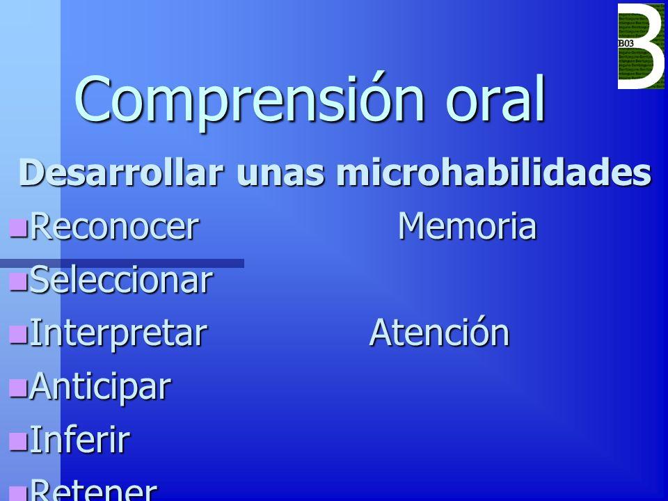 Comprensión oral Desarrollar unas microhabilidades Reconocer Memoria Reconocer Memoria Seleccionar Seleccionar Interpretar Atención Interpretar Atenci