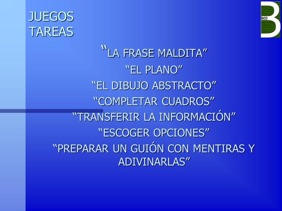 JUEGOS TAREAS LA FRASE MALDITA LA FRASE MALDITA EL PLANO EL DIBUJO ABSTRACTO COMPLETAR CUADROS TRANSFERIR LA INFORMACIÓN ESCOGER OPCIONES PREPARAR UN
