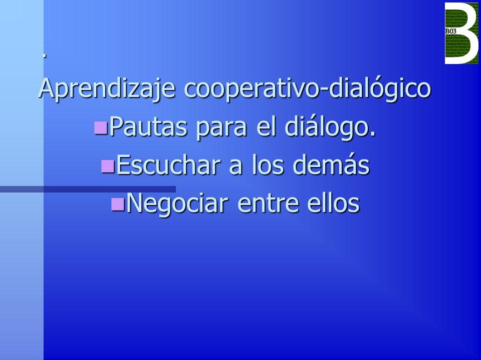 . Aprendizaje cooperativo-dialógico Pautas para el diálogo. Pautas para el diálogo. Escuchar a los demás Escuchar a los demás Negociar entre ellos Neg