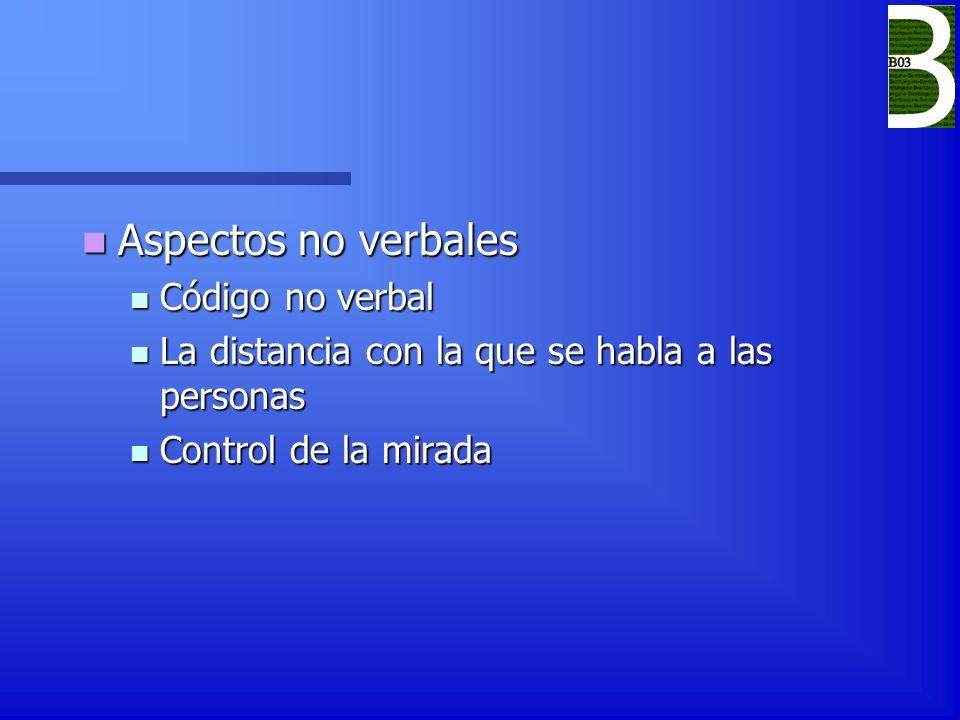 Aspectos no verbales Aspectos no verbales Código no verbal Código no verbal La distancia con la que se habla a las personas La distancia con la que se