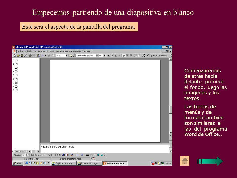 Podemos componer la diapositiva partiendo de un autodiseño o de una diapositiva en blancoInsertar / Nueva diapositiva En la barra de dibujo encontramo