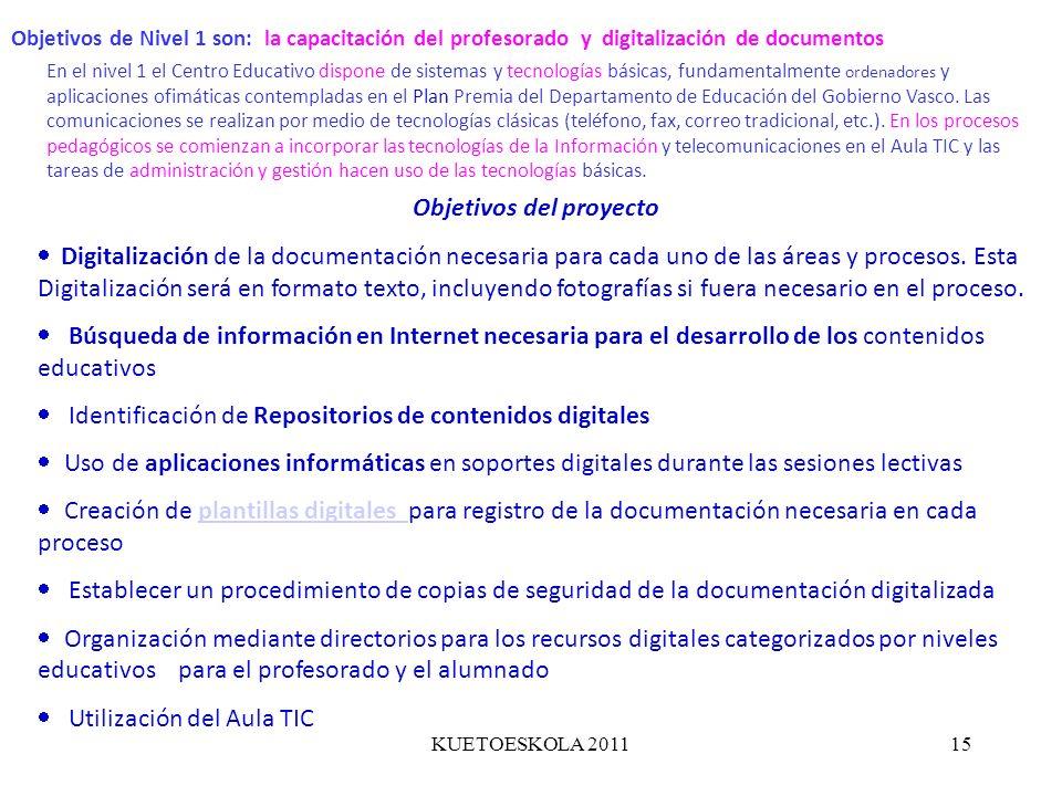 KUETOESKOLA 201115 Objetivos de Nivel 1 son: la capacitación del profesorado y digitalización de documentos En el nivel 1 el Centro Educativo dispone