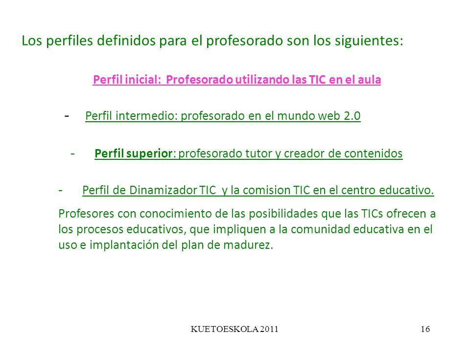 KUETOESKOLA 201116 Los perfiles definidos para el profesorado son los siguientes: Perfil inicial: Profesorado utilizando las TIC en el aula - Perfil s