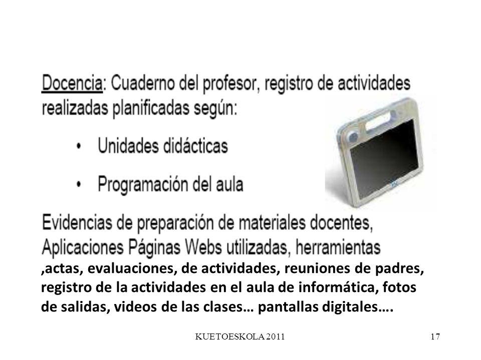 KUETOESKOLA 201117,actas, evaluaciones, de actividades, reuniones de padres, registro de la actividades en el aula de informática, fotos de salidas, v