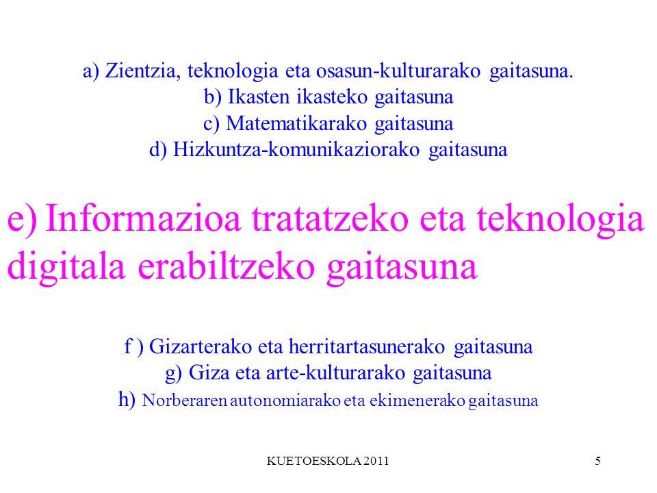 KUETOESKOLA 20115 a) Zientzia, teknologia eta osasun-kulturarako gaitasuna. b) Ikasten ikasteko gaitasuna c) Matematikarako gaitasuna d) Hizkuntza-kom