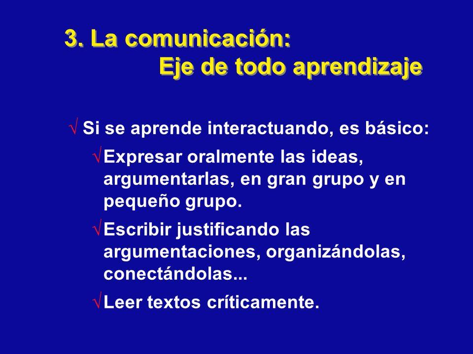 3. La comunicación: Eje de todo aprendizaje Si se aprende interactuando, es básico: Expresar oralmente las ideas, argumentarlas, en gran grupo y en pe