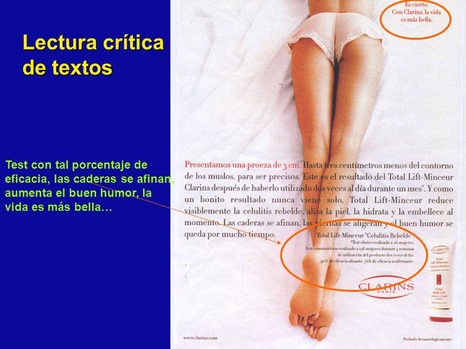 Test con tal porcentaje de eficacia, las caderas se afinan, aumenta el buen humor, la vida es más bella… Lectura crítica de textos