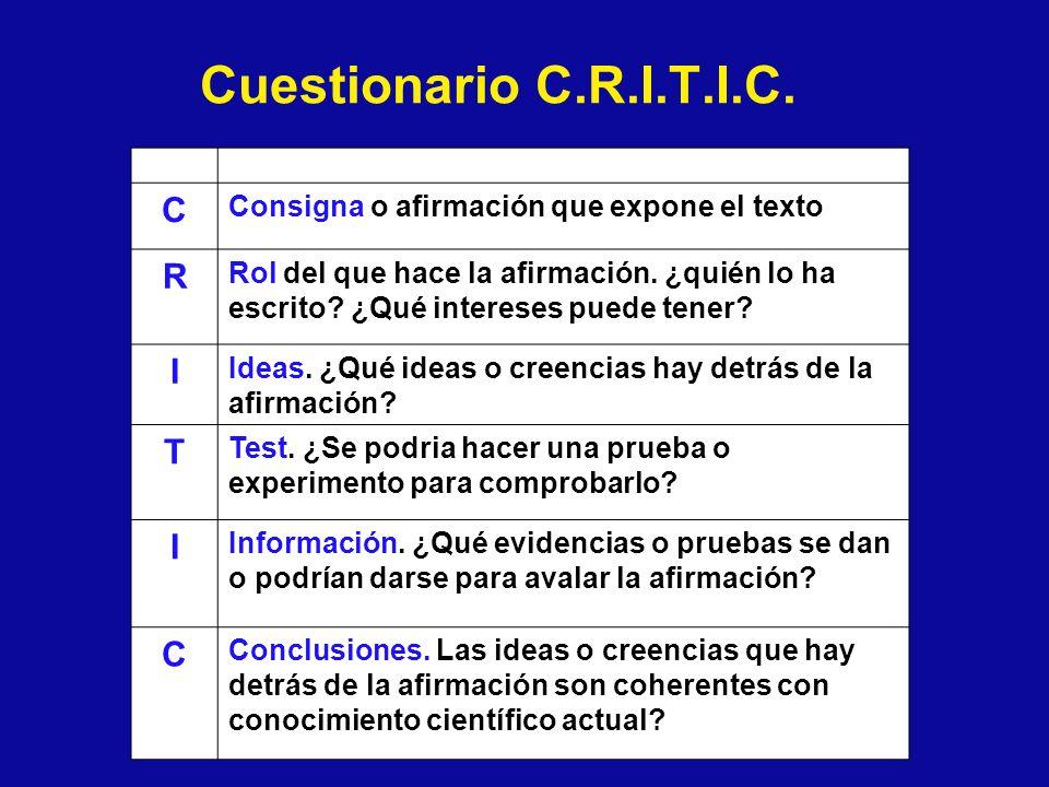 Cuestionario C.R.I.T.I.C. C Consigna o afirmación que expone el texto R Rol del que hace la afirmación. ¿quién lo ha escrito? ¿Qué intereses puede ten