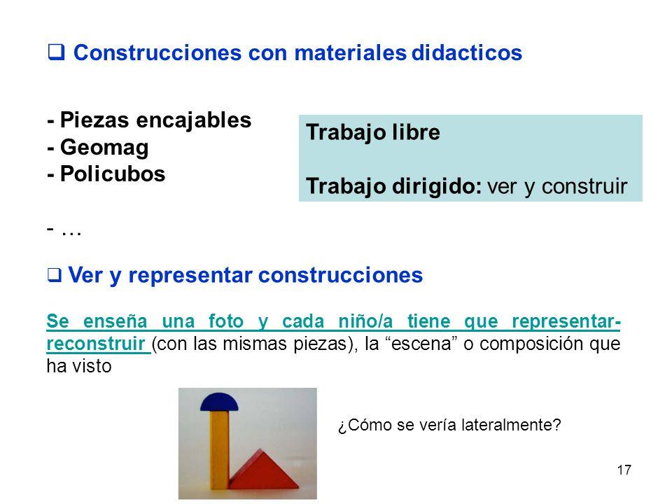 17 Construcciones con materiales didacticos - Piezas encajables - Geomag - Policubos - … Trabajo libre Trabajo dirigido: ver y construir Ver y represe