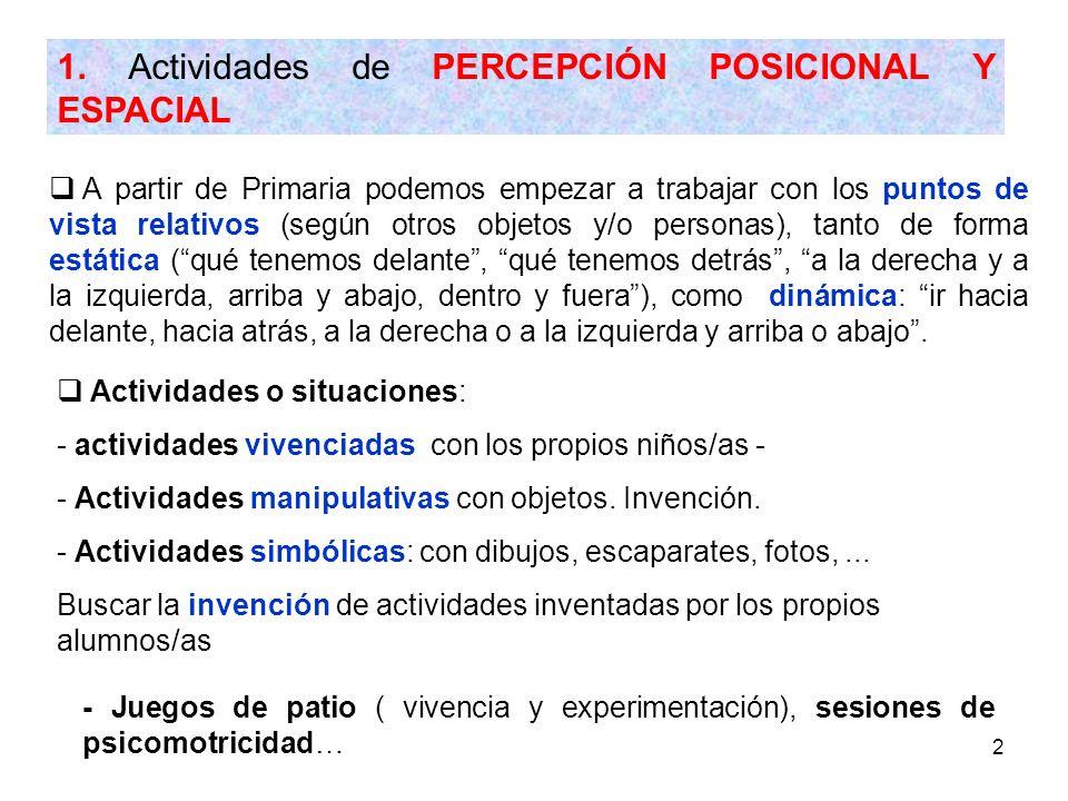 2 1. Actividades de PERCEPCIÓN POSICIONAL Y ESPACIAL A partir de Primaria podemos empezar a trabajar con los puntos de vista relativos (según otros ob