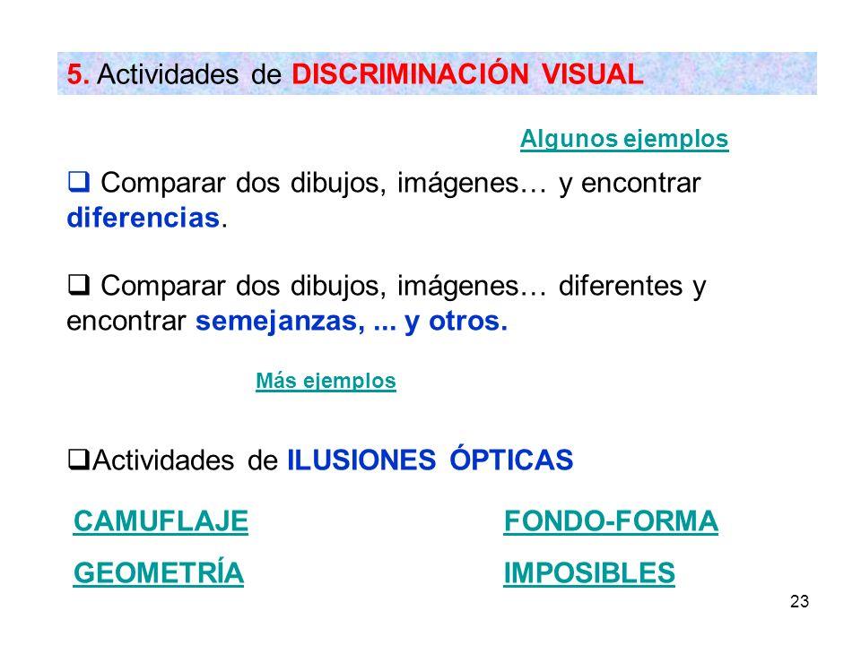 23 5. Actividades de DISCRIMINACIÓN VISUAL Algunos ejemplos Comparar dos dibujos, imágenes… y encontrar diferencias. Comparar dos dibujos, imágenes… d