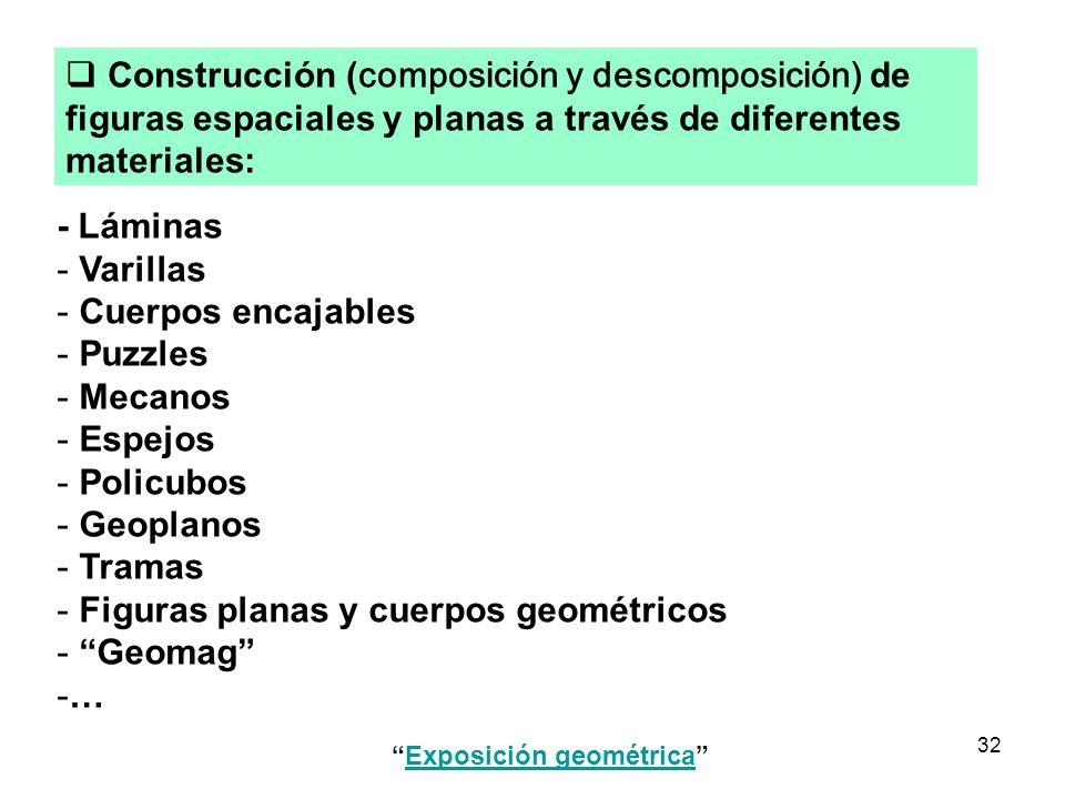 32 - Láminas - Varillas - Cuerpos encajables - Puzzles - Mecanos - Espejos - Policubos - Geoplanos - Tramas - Figuras planas y cuerpos geométricos - G