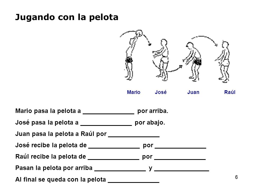 6 Jugando con la pelota MarioJoséJuanRaúl Mario pasa la pelota a _______________ por arriba. José pasa la pelota a _______________ por abajo. Juan pas