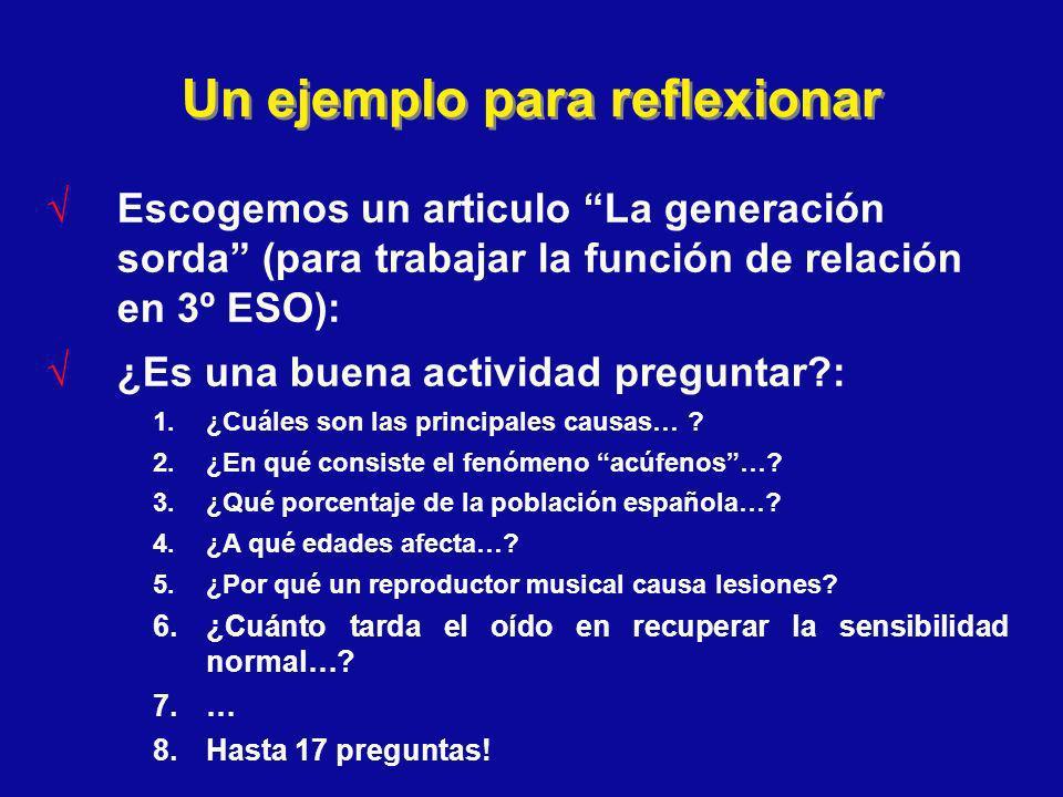 Un ejemplo para reflexionar Escogemos un articulo La generación sorda (para trabajar la función de relación en 3º ESO): ¿Es una buena actividad pregun