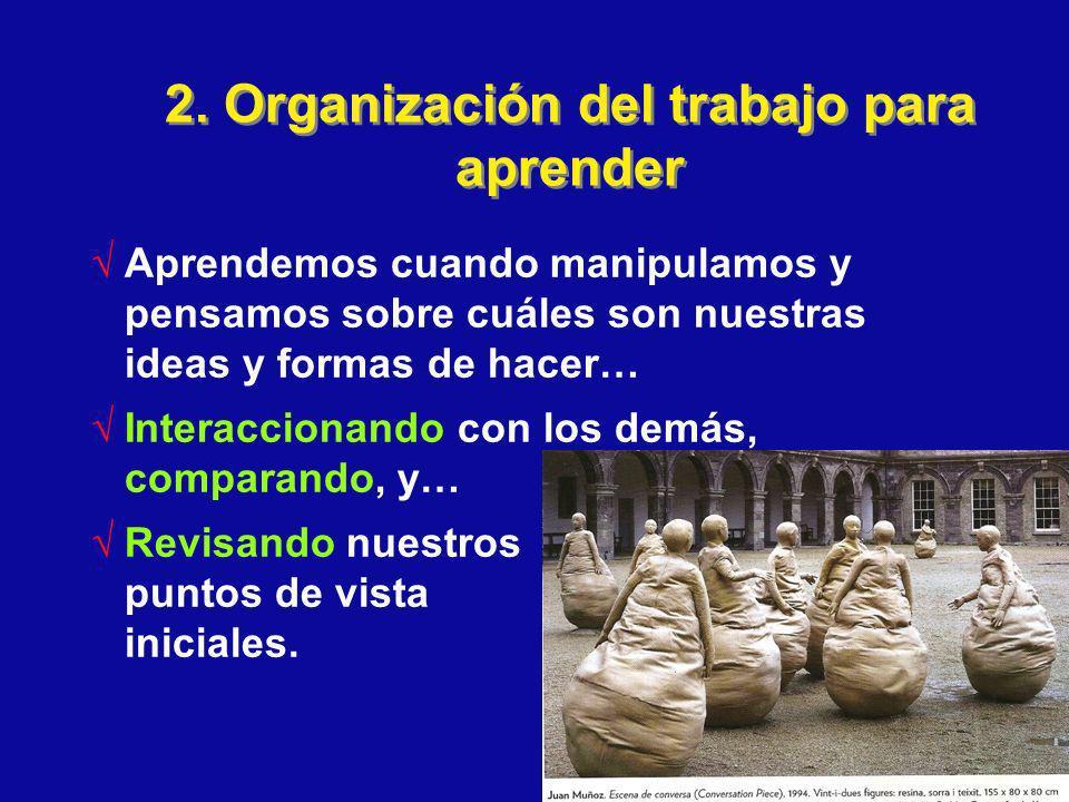 2. Organización del trabajo para aprender Aprendemos cuando manipulamos y pensamos sobre cuáles son nuestras ideas y formas de hacer… Interaccionando