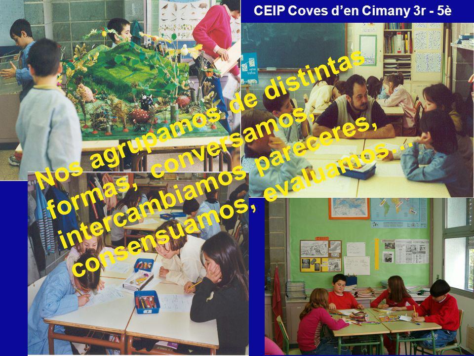 Nos agrupamos de distintas formas, conversamos, intercambiamos pareceres, consensuamos, evaluamos… CEIP Coves den Cimany 3r - 5è