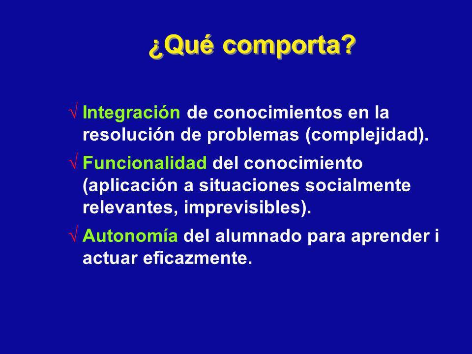 ¿Qué comporta? Integración de conocimientos en la resolución de problemas (complejidad). Funcionalidad del conocimiento (aplicación a situaciones soci