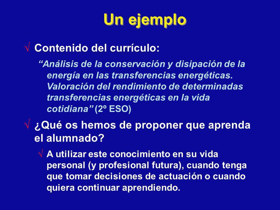 Un ejemplo Contenido del currículo: Análisis de la conservación y disipación de la energía en las transferencias energéticas. Valoración del rendimien