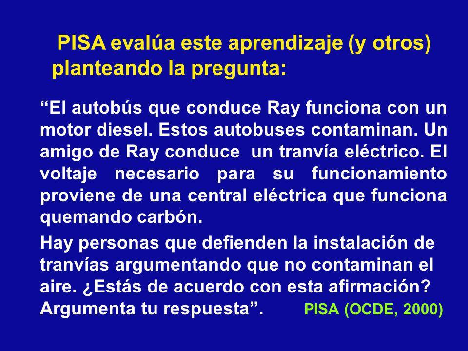PISA evalúa este aprendizaje (y otros) planteando la pregunta: El autobús que conduce Ray funciona con un motor diesel. Estos autobuses contaminan. Un
