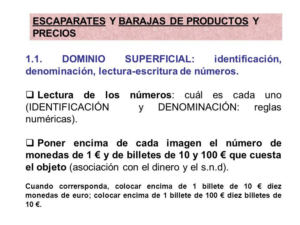 1.1. DOMINIO SUPERFICIAL: identificación, denominación, lectura-escritura de números. Lectura de los números: cuál es cada uno (IDENTIFICACIÓN y DENOM