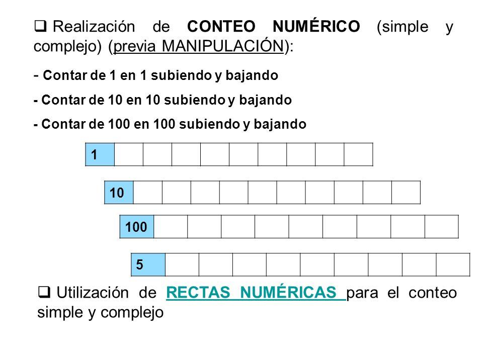 Realización de CONTEO NUMÉRICO (simple y complejo) (previa MANIPULACIÓN): - Contar de 1 en 1 subiendo y bajando - Contar de 10 en 10 subiendo y bajand
