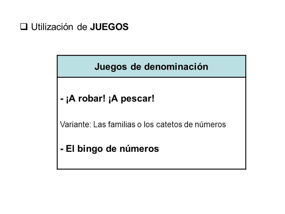 Utilización de JUEGOS Juegos de denominación - ¡A robar! ¡A pescar! Variante: Las familias o los catetos de números - El bingo de números