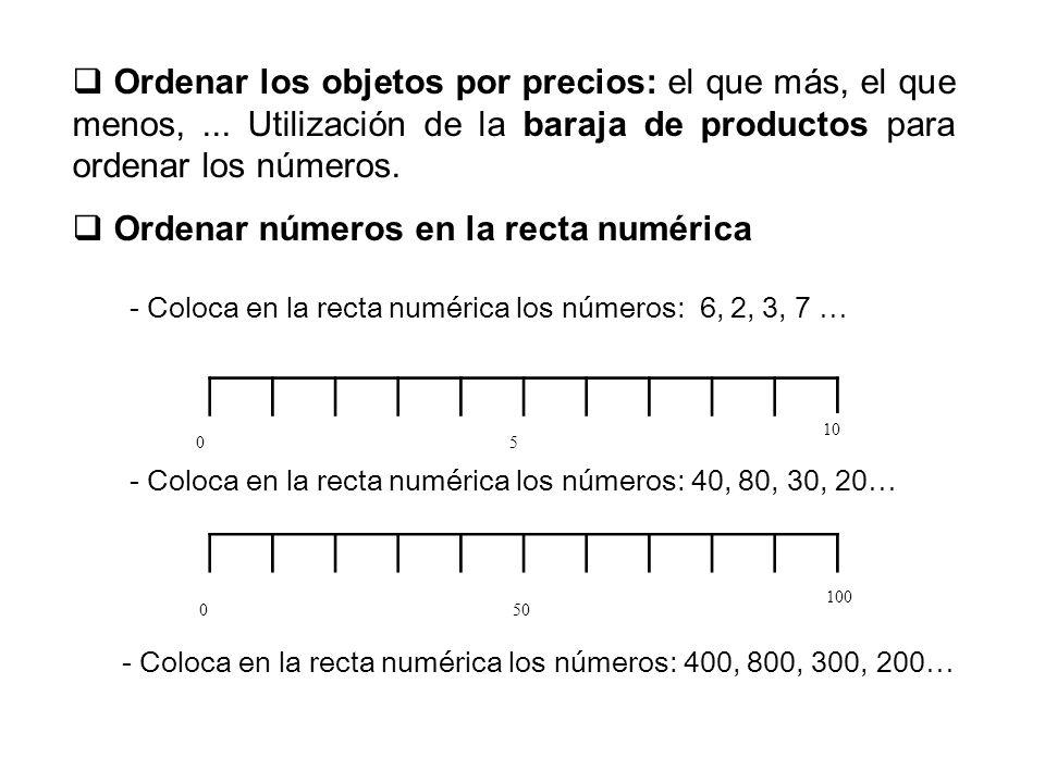 Comparar números utilizando mayor, igual o menor (bien con letras o con símbolos >, =, < ) 10 menor que 20100200 5040500300 3070500700 90100400mayor que100 3080900800 1815 12menor que21 2535 4224 880 La misma actividad se puede realizar utilizando la baraja de productos y precios.