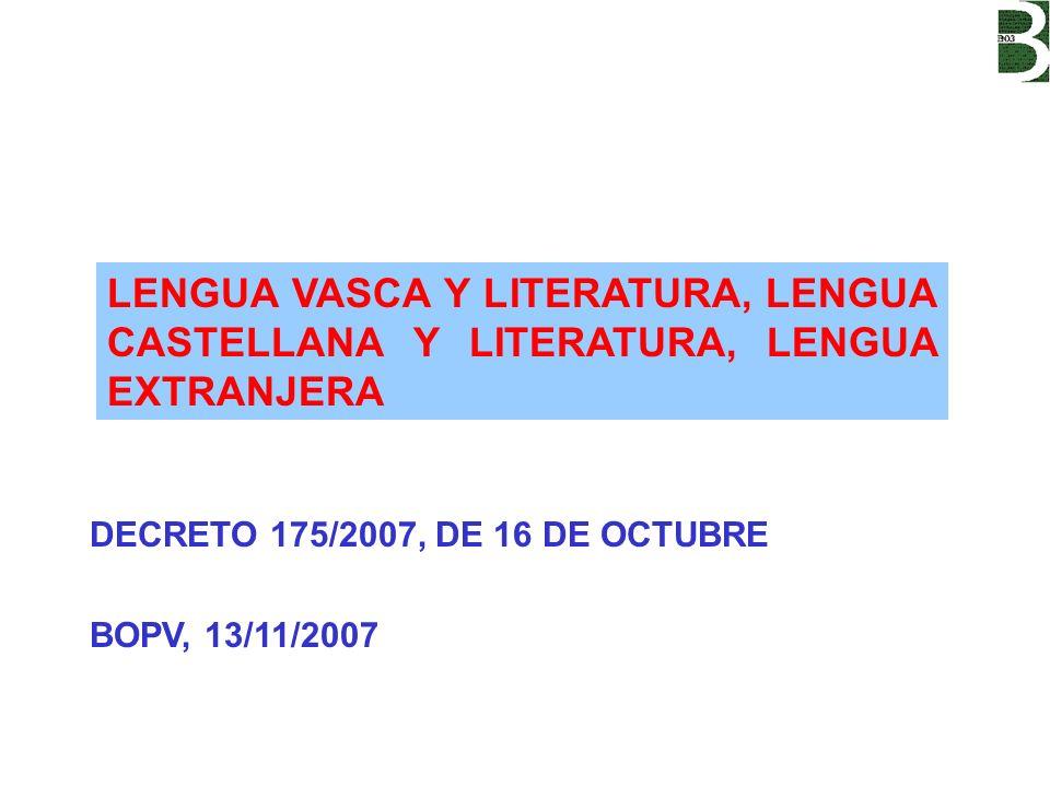 DECRETO 175/2007, DE 16 DE OCTUBRE BOPV, 13/11/2007 LENGUA VASCA Y LITERATURA, LENGUA CASTELLANA Y LITERATURA, LENGUA EXTRANJERA