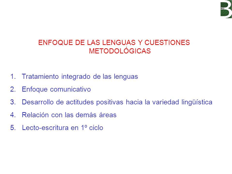 ENFOQUE DE LAS LENGUAS Y CUESTIONES METODOLÓGICAS 1.Tratamiento integrado de las lenguas 2.Enfoque comunicativo 3.Desarrollo de actitudes positivas ha