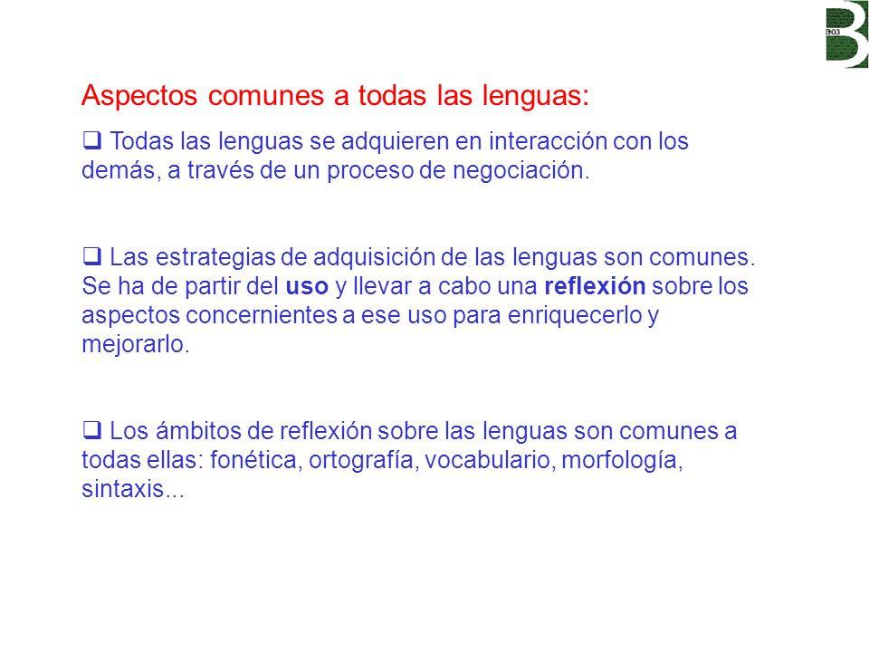 Aspectos comunes a todas las lenguas: Todas las lenguas se adquieren en interacción con los demás, a través de un proceso de negociación. Las estrateg