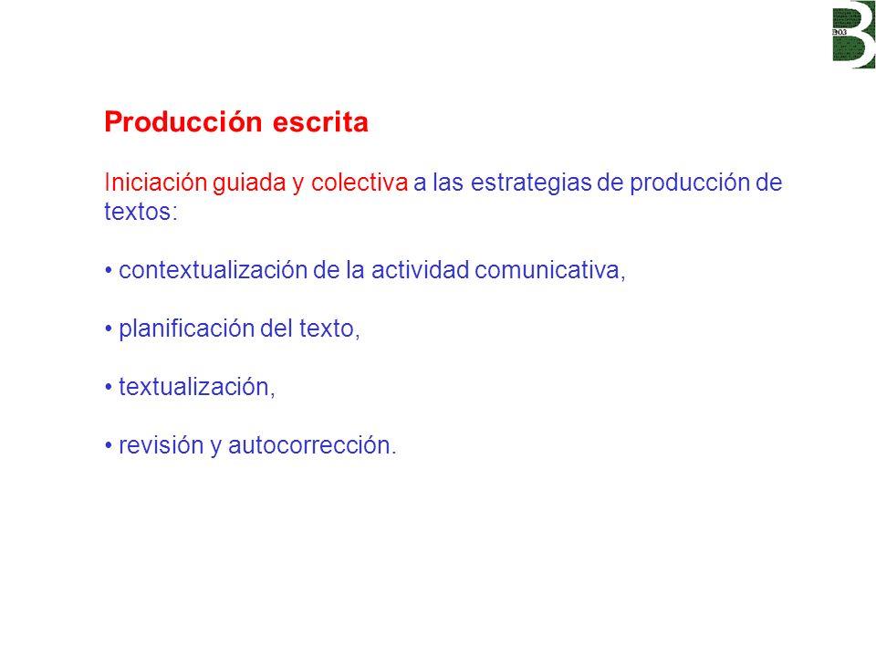 Producción escrita Iniciación guiada y colectiva a las estrategias de producción de textos: contextualización de la actividad comunicativa, planificac