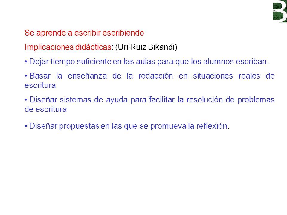 Se aprende a escribir escribiendo Implicaciones didácticas: (Uri Ruiz Bikandi) Dejar tiempo suficiente en las aulas para que los alumnos escriban. Bas