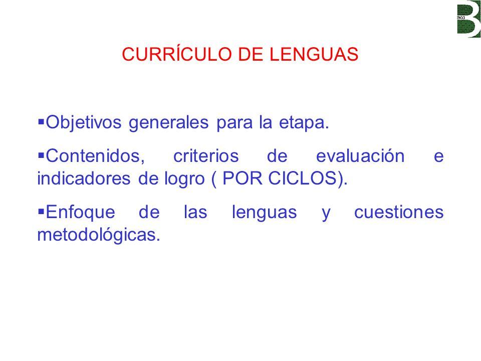 OBJETIVOS GENERALES: PARA QUÉ ENSEÑAMOS El objetivo de la enseñanza de las lenguas es conseguir usuarios de dichas lenguas cada vez más competentes.