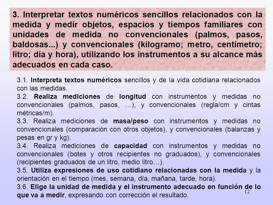 12 3.1. Interpreta textos numéricos sencillos y de la vida cotidiana relacionados con las medidas. 3.2. Realiza mediciones de longitud con instrumento