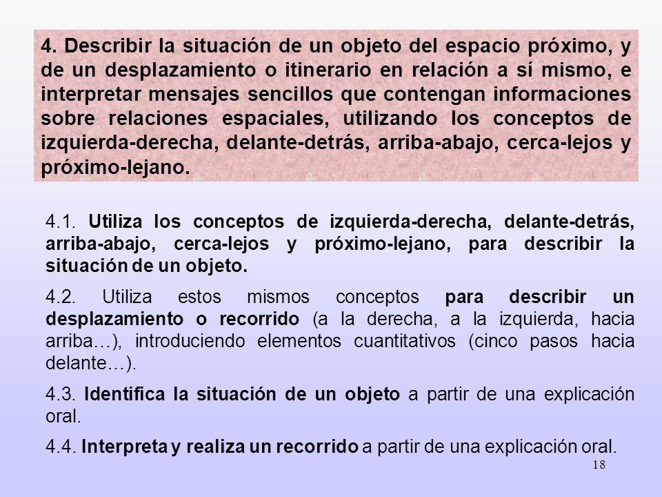 18 4.1. Utiliza los conceptos de izquierda-derecha, delante-detrás, arriba-abajo, cerca-lejos y próximo-lejano, para describir la situación de un obje