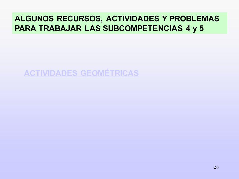 20 ALGUNOS RECURSOS, ACTIVIDADES Y PROBLEMAS PARA TRABAJAR LAS SUBCOMPETENCIAS 4 y 5 ACTIVIDADES GEOMÉTRICAS