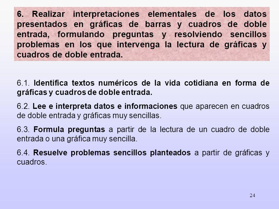 24 6.1. Identifica textos numéricos de la vida cotidiana en forma de gráficas y cuadros de doble entrada. 6.2. Lee e interpreta datos e informaciones