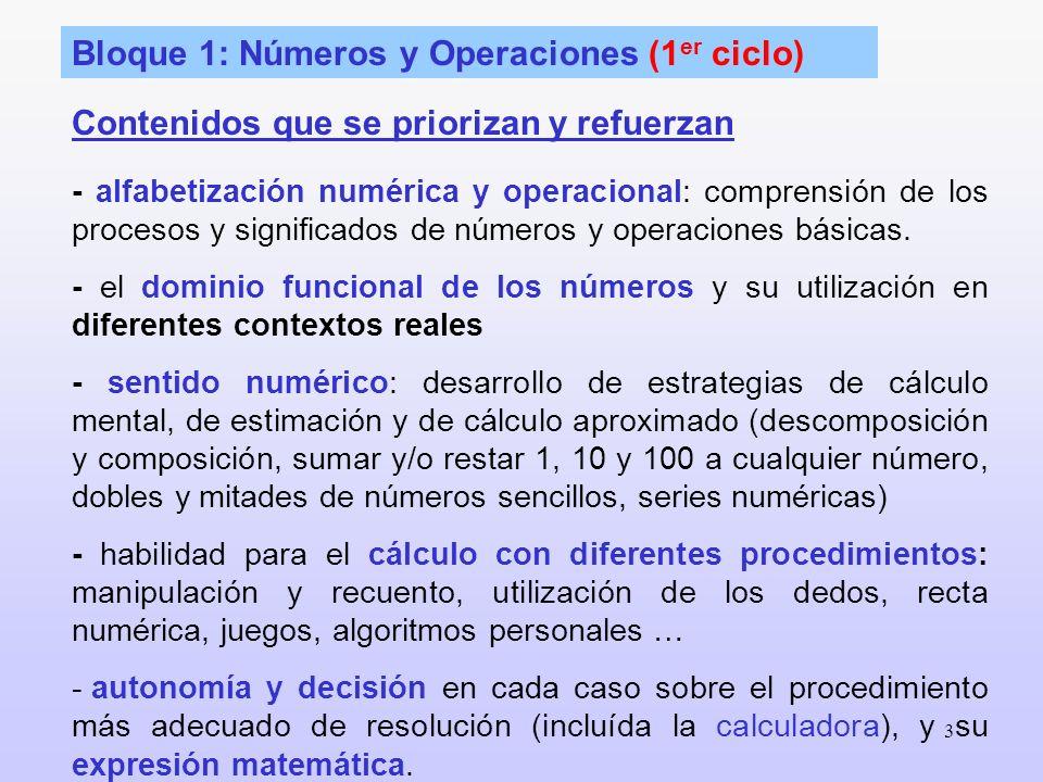 3 Bloque 1: Números y Operaciones (1 er ciclo) - alfabetización numérica y operacional: comprensión de los procesos y significados de números y operac