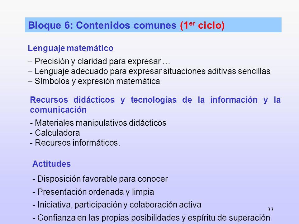 33 Bloque 6: Contenidos comunes (1 er ciclo) Lenguaje matemático – Precisión y claridad para expresar … – Lenguaje adecuado para expresar situaciones