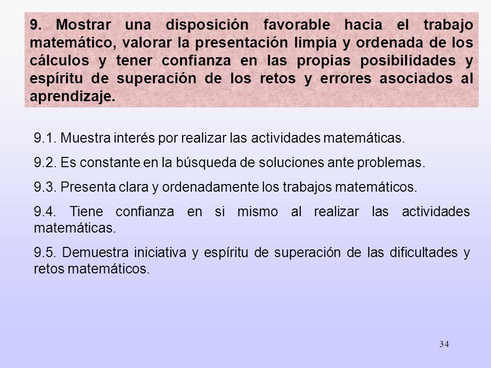 34 9.1. Muestra interés por realizar las actividades matemáticas. 9.2. Es constante en la búsqueda de soluciones ante problemas. 9.3. Presenta clara y