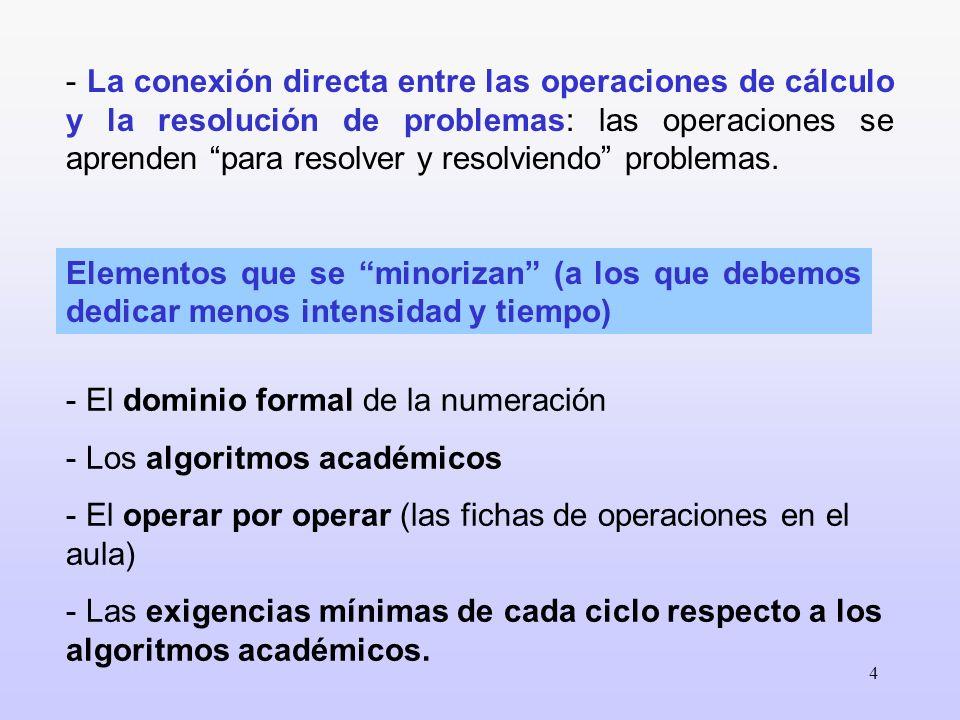 4 Elementos que se minorizan (a los que debemos dedicar menos intensidad y tiempo) - El dominio formal de la numeración - Los algoritmos académicos -