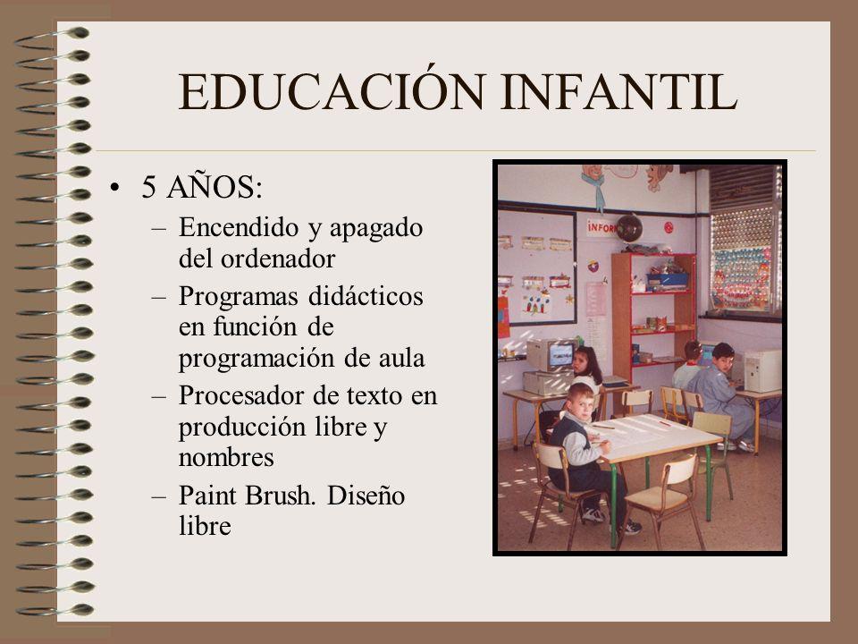 EDUCACIÓN INFANTIL 5 AÑOS: –Encendido y apagado del ordenador –Programas didácticos en función de programación de aula –Procesador de texto en producc