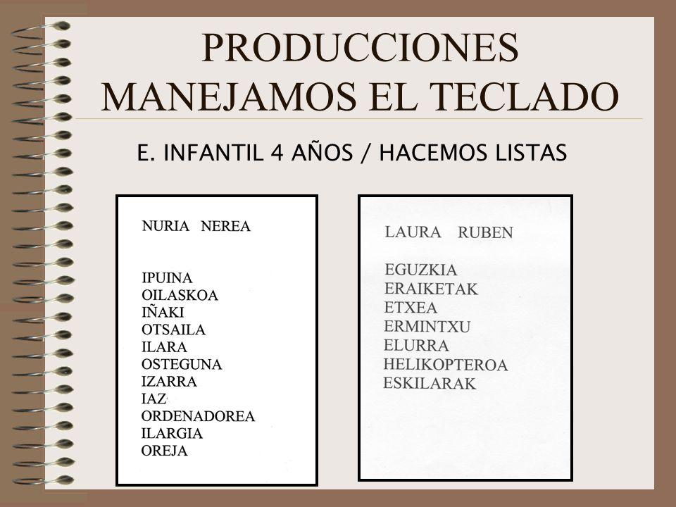 PRODUCCIONES MANEJAMOS EL TECLADO E. INFANTIL 4 AÑOS / HACEMOS LISTAS