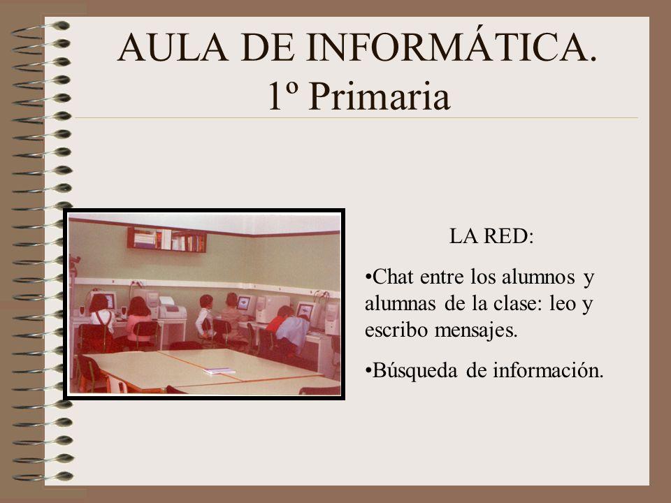 AULA DE INFORMÁTICA. 1º Primaria LA RED: Chat entre los alumnos y alumnas de la clase: leo y escribo mensajes. Búsqueda de información.
