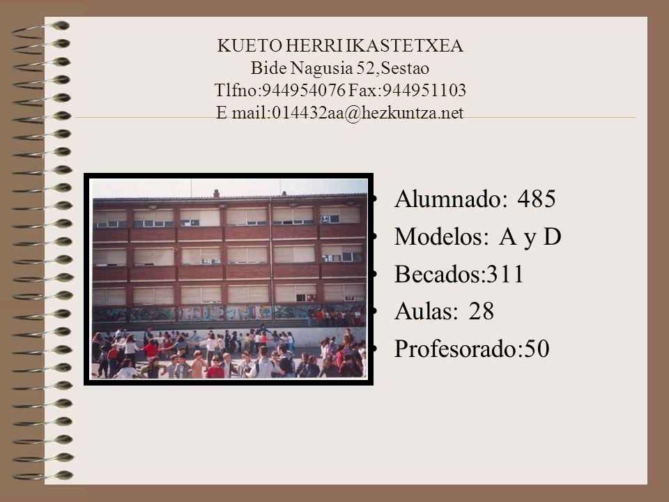 KUETO HERRI IKASTETXEA Bide Nagusia 52,Sestao Tlfno:944954076 Fax:944951103 E mail:014432aa@hezkuntza.net Alumnado: 485 Modelos: A y D Becados:311 Aul