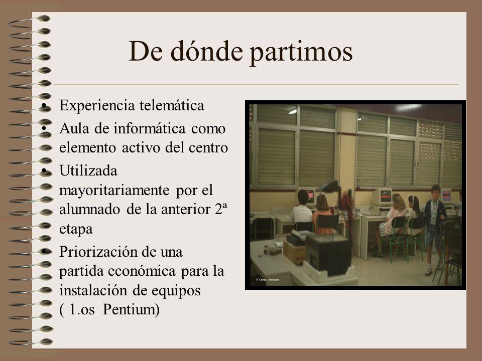De dónde partimos Experiencia telemática Aula de informática como elemento activo del centro Utilizada mayoritariamente por el alumnado de la anterior