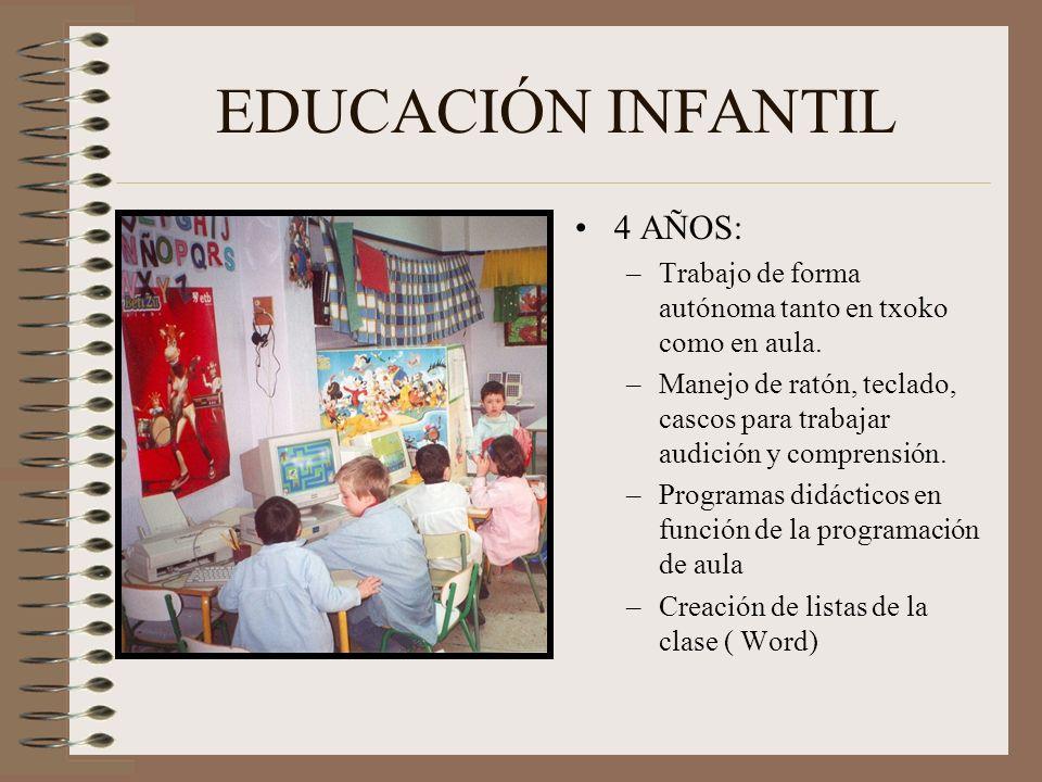 EDUCACIÓN INFANTIL 4 AÑOS: –Trabajo de forma autónoma tanto en txoko como en aula. –Manejo de ratón, teclado, cascos para trabajar audición y comprens