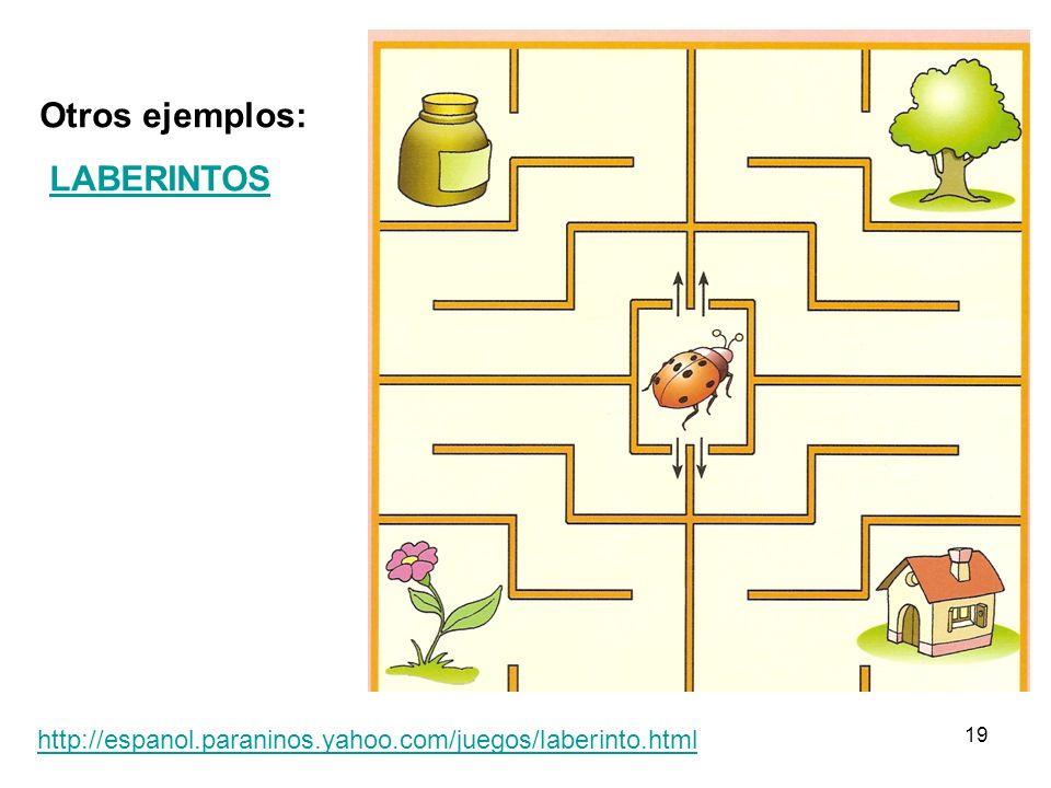 19 Otros ejemplos: LABERINTOS http://espanol.paraninos.yahoo.com/juegos/laberinto.html