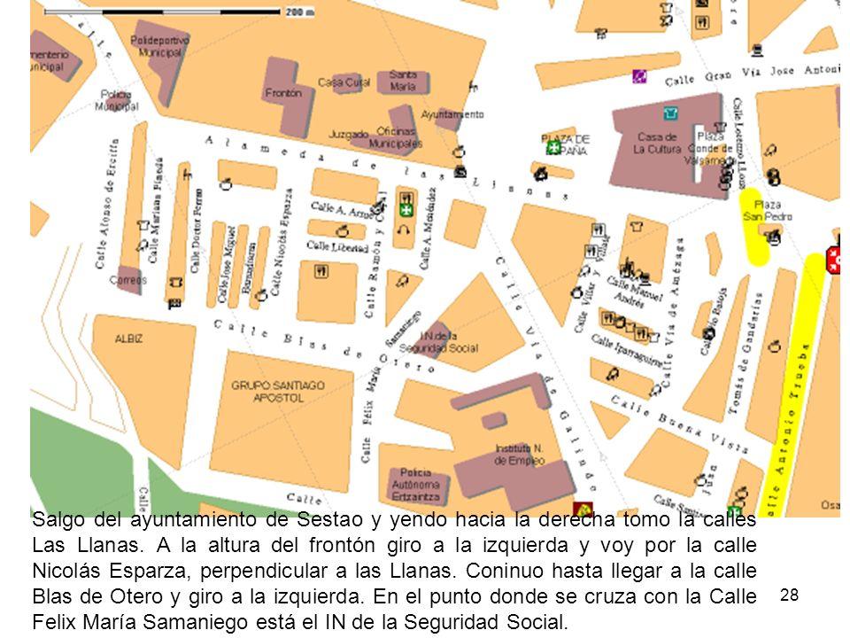 28 Salgo del ayuntamiento de Sestao y yendo hacia la derecha tomo la calles Las Llanas. A la altura del frontón giro a la izquierda y voy por la calle